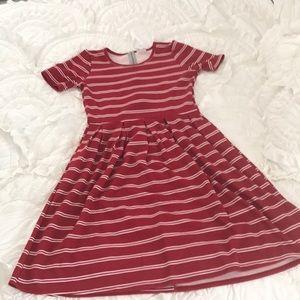 LulaRoe Amelia dress in candy can red-Sz Medium